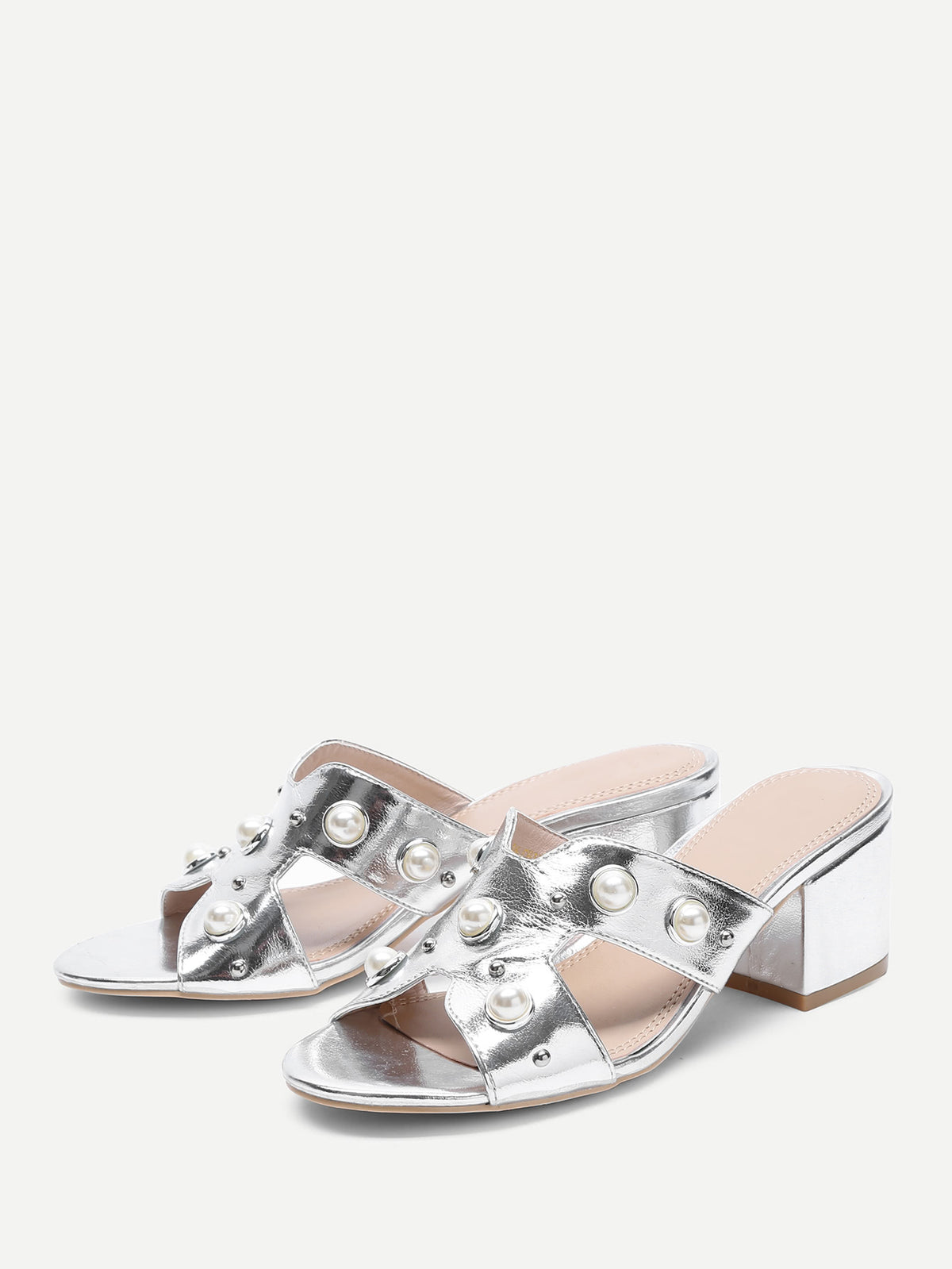 Faux Pearl Decorated Block Heeled Sandals
