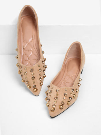 Rhinestone & Studded Decorated Suede Flats
