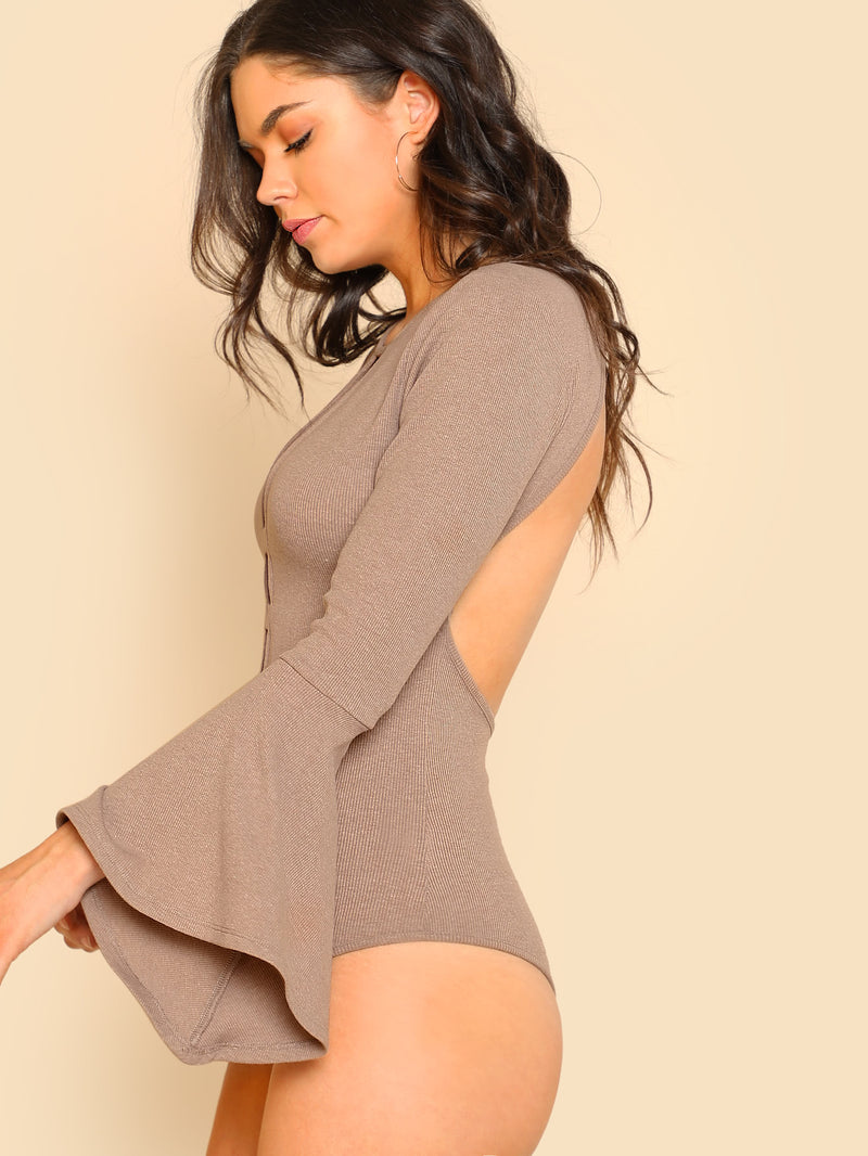 Bell Sleeve Open Back Plunging Bodysuit