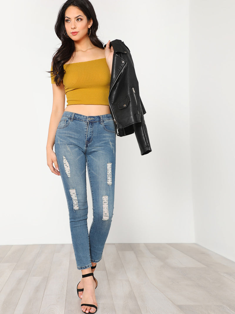 Off Shoulder Ribbed Crop Tee