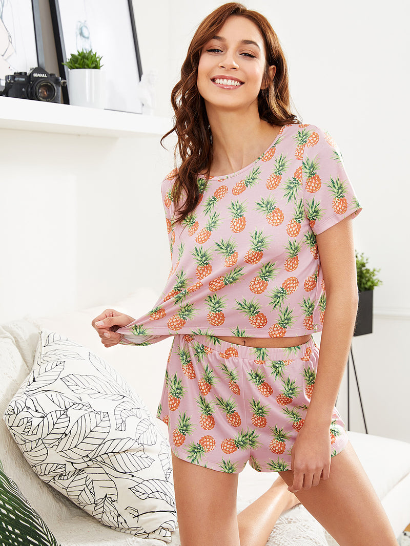 Allover Pineapple Print Top & Shorts Set