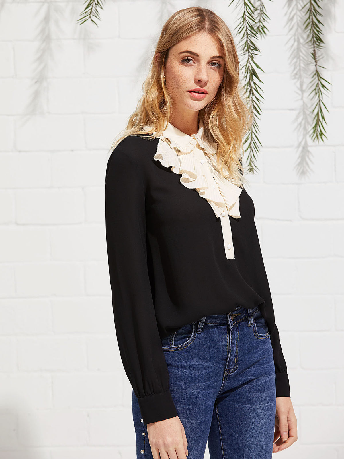 Contrast Pleated Collar Frill Detail Top