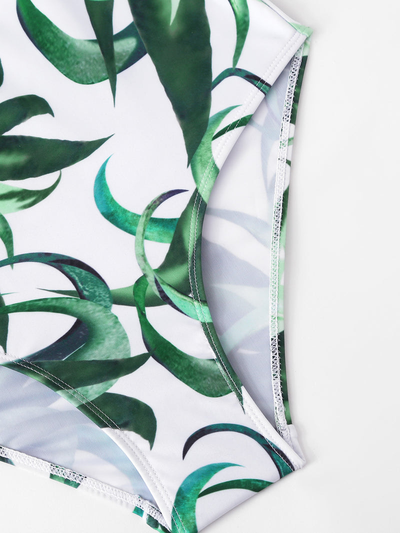 Leaf Print Backless Swimsuit