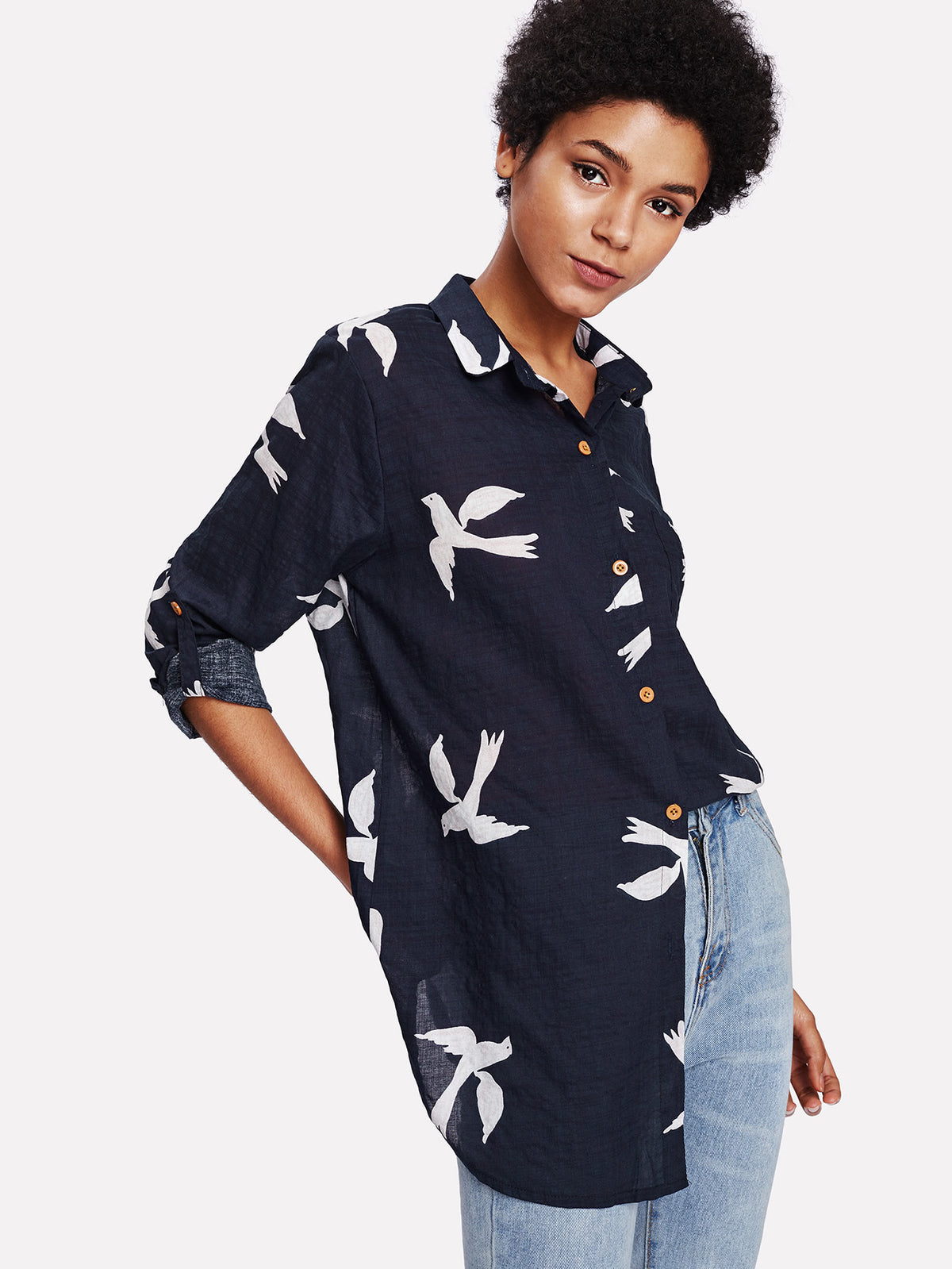 Bird Print Roll Up Sleeve High Low Shirt
