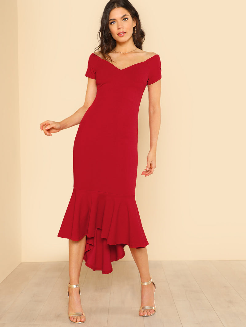 Ruffle Hem V Neck Bardot Dress