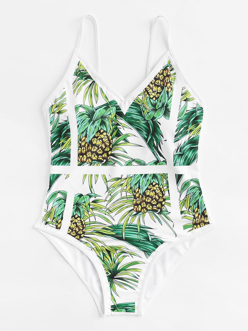 Fruit Print Caged Swimsuit