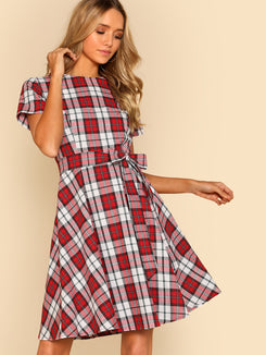 Princess Seam Detail Fit & Flare Check Dress