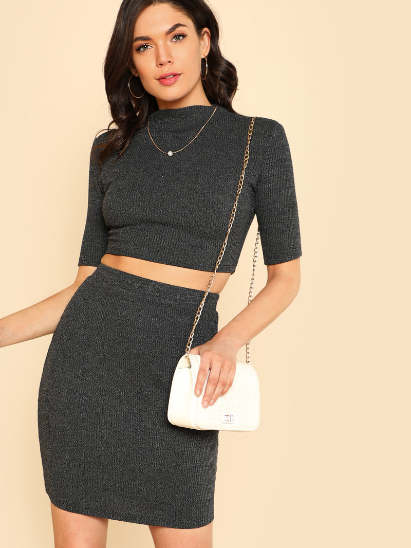 Heather Knit Crop Top & Pencil Skirt Co-Ord