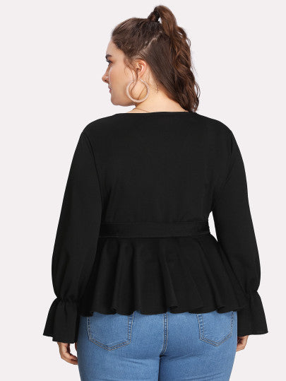 Ruffle Hem Surplice Solid Top