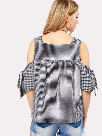 Cold Shoulder Embroidery Plaid Blouse