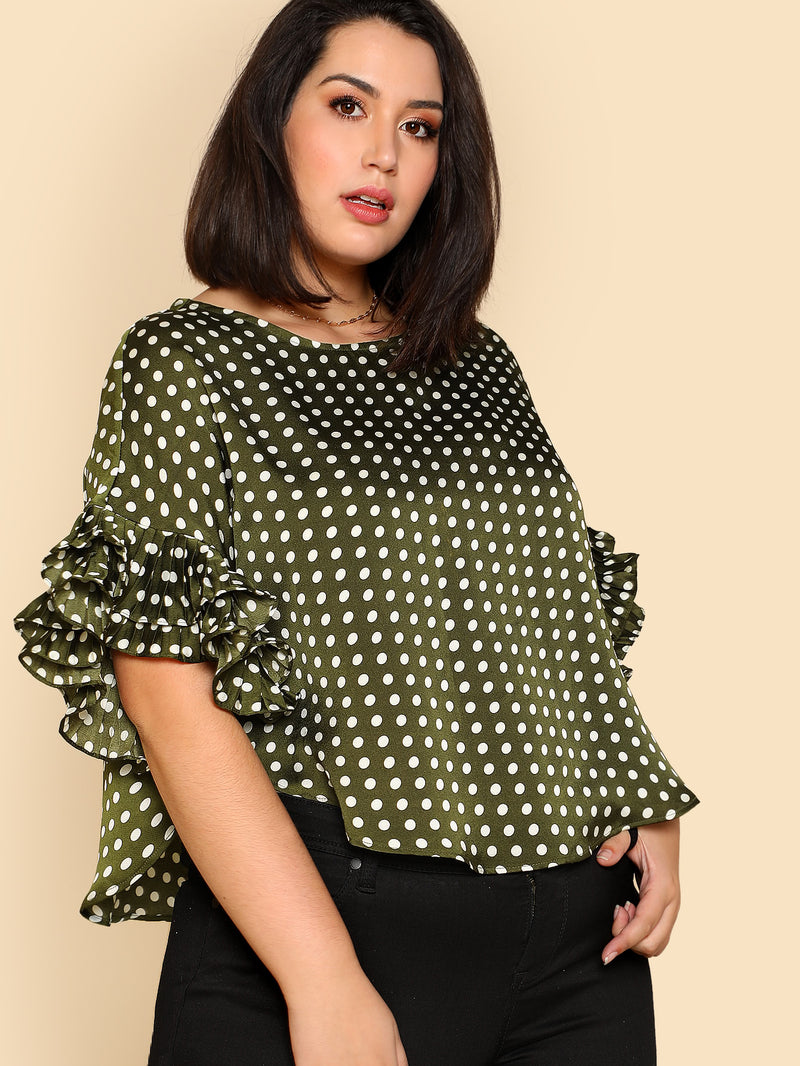 Pleated Ruffle Detail Polka Dot Top