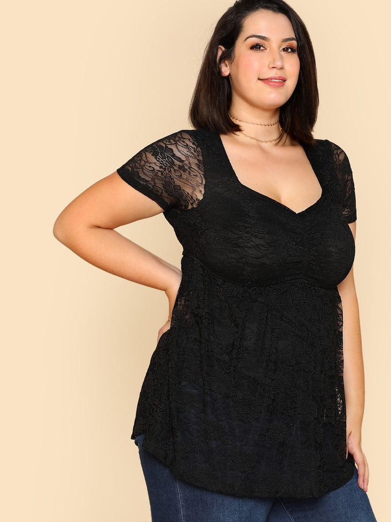 Shirred Front Lace Overlay Smock Top