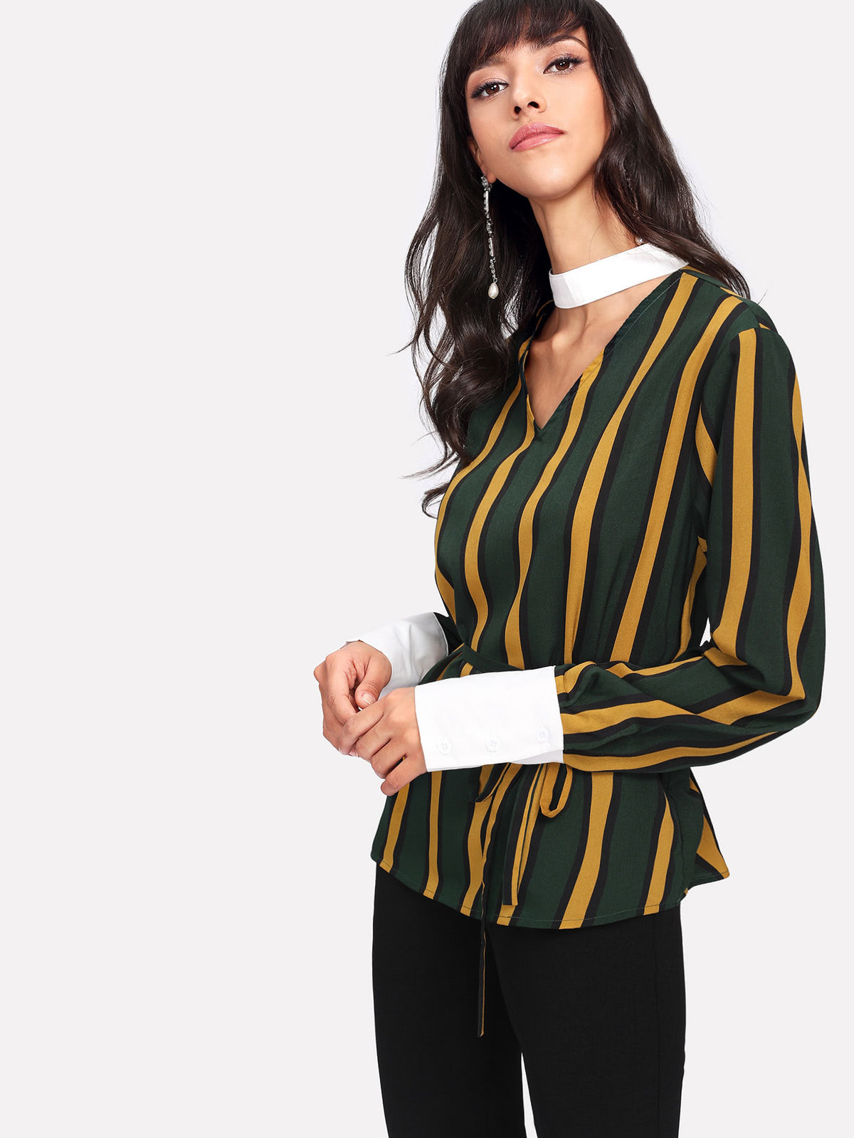 Contrast Choker Neck And Cuff Striped Blouse