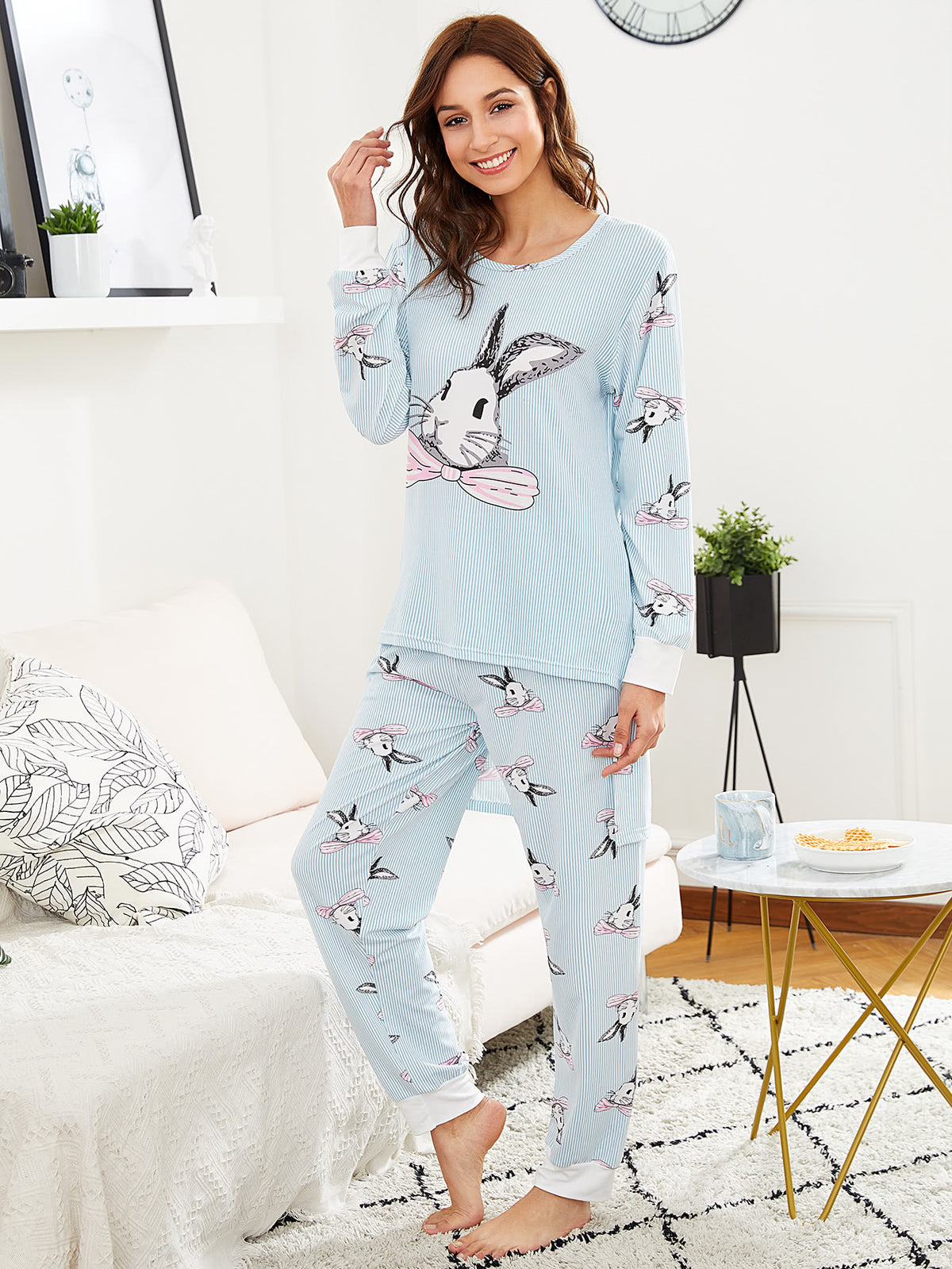 Rabbit Print Pinstriped Tee & Pants PJ Set