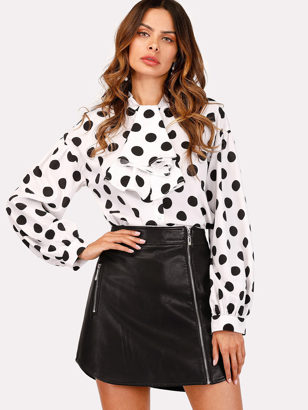 Drop Shoulder Spot Blouse With Jabot