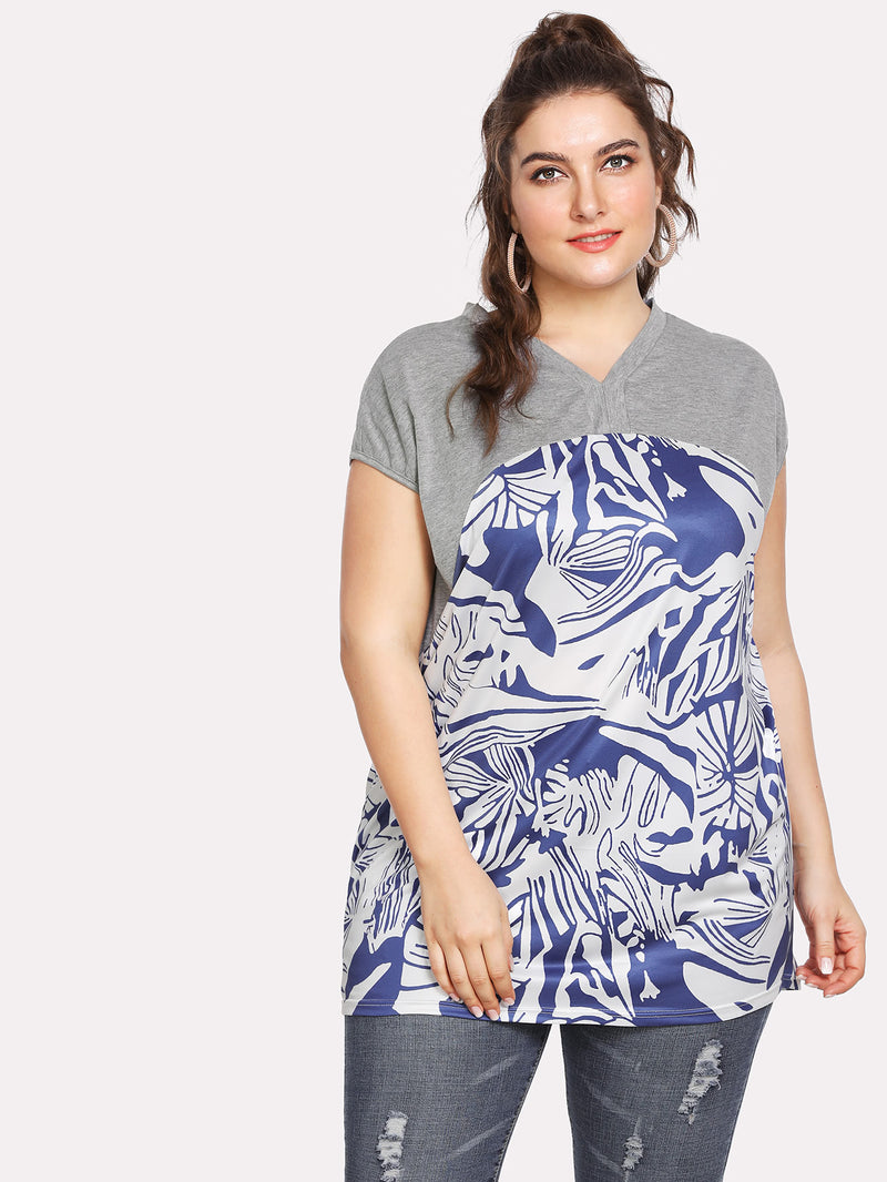 Contrast Marled Abstract Print T-shirt