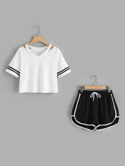 Stripe Sleeve Top & Drawstring Contrast Trim Shorts