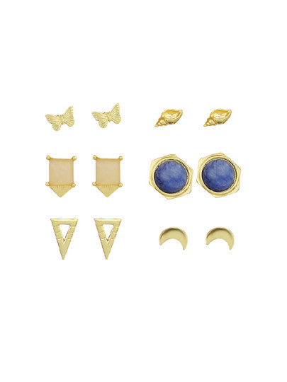 Blue Stone Earrings Set