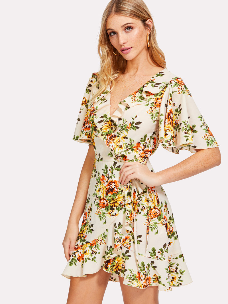 Allover Floral Print Wrap Dress