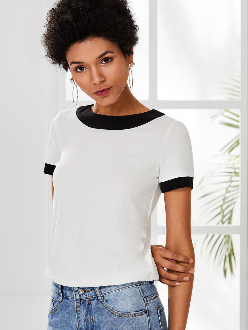 Contrast Trim Mesh Back Pleated T-shirt
