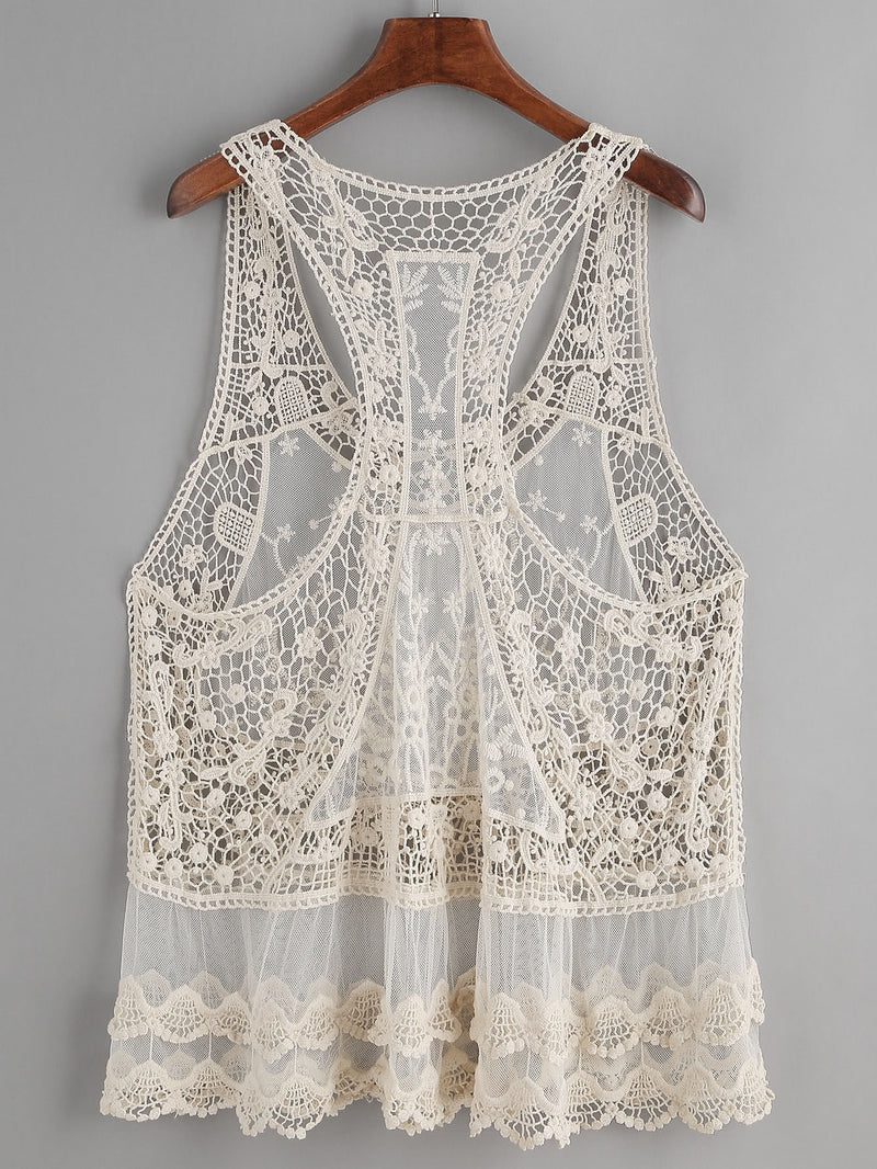 Beige Hollow Out Crochet Lace Tank Top