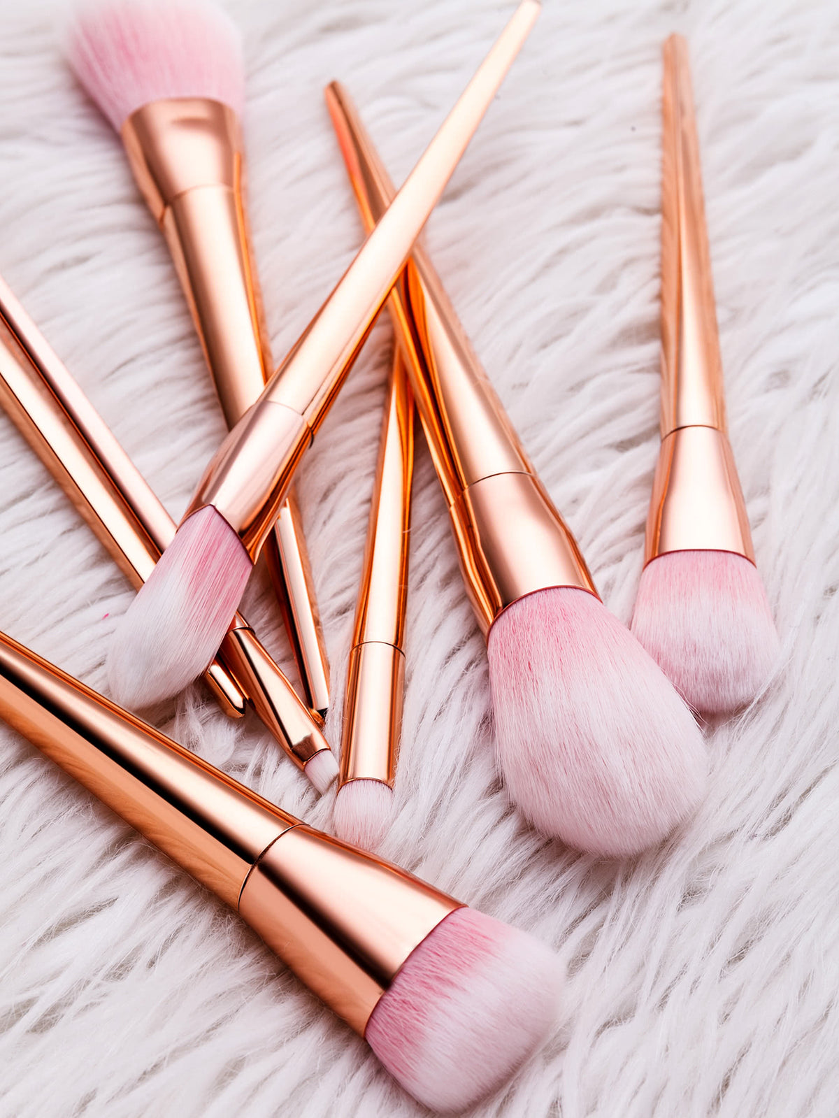 Pink And Gold Professional Cosmetic Makeup Brush Set