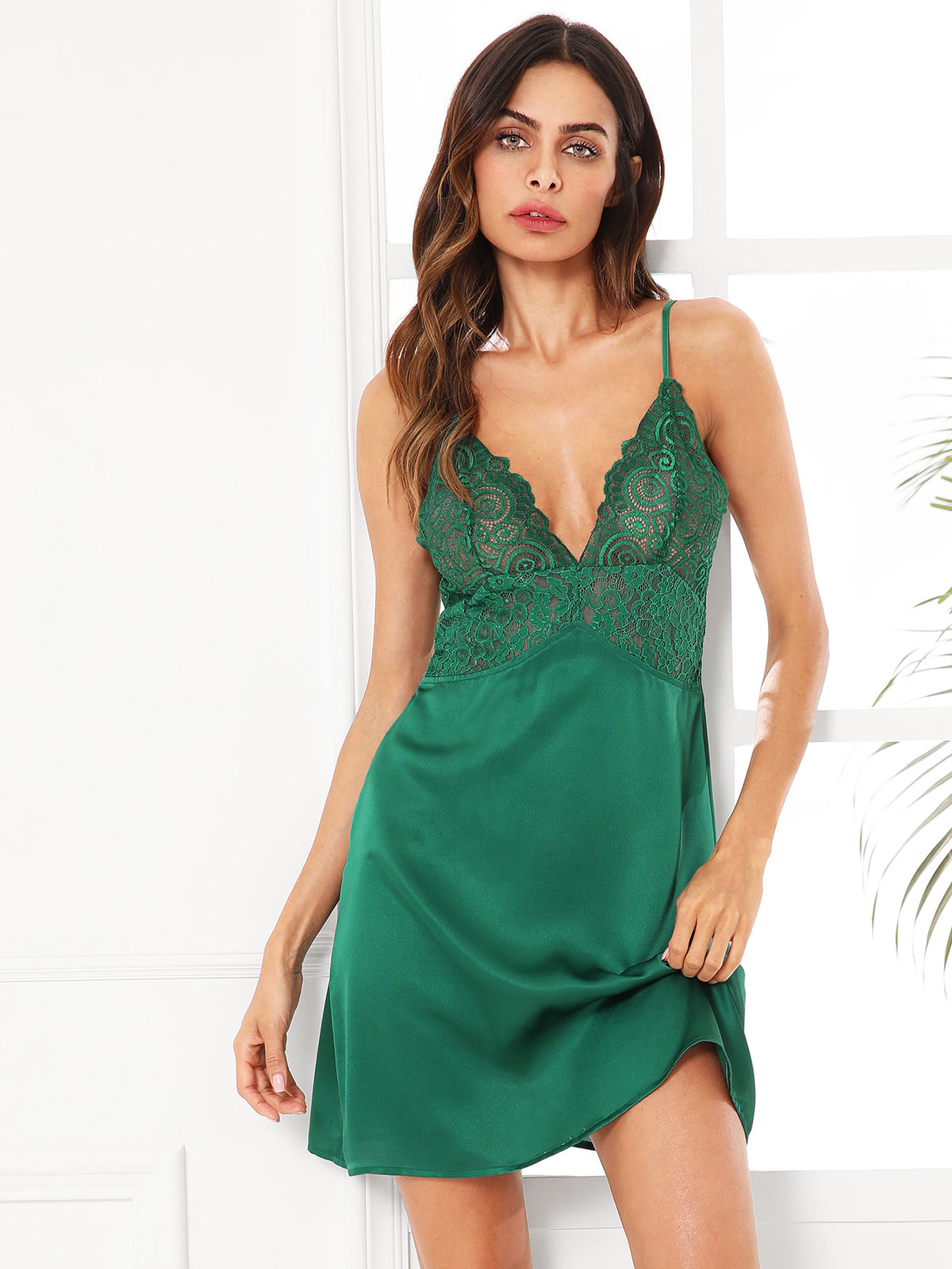 Scalloped Lace Panel Cami Nightdress