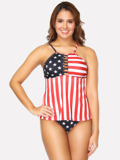 Striped & Star Print Tankini Set