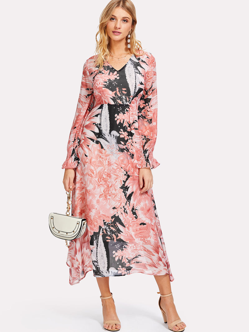 Ruffle Sleeve Floral Print Long Dress