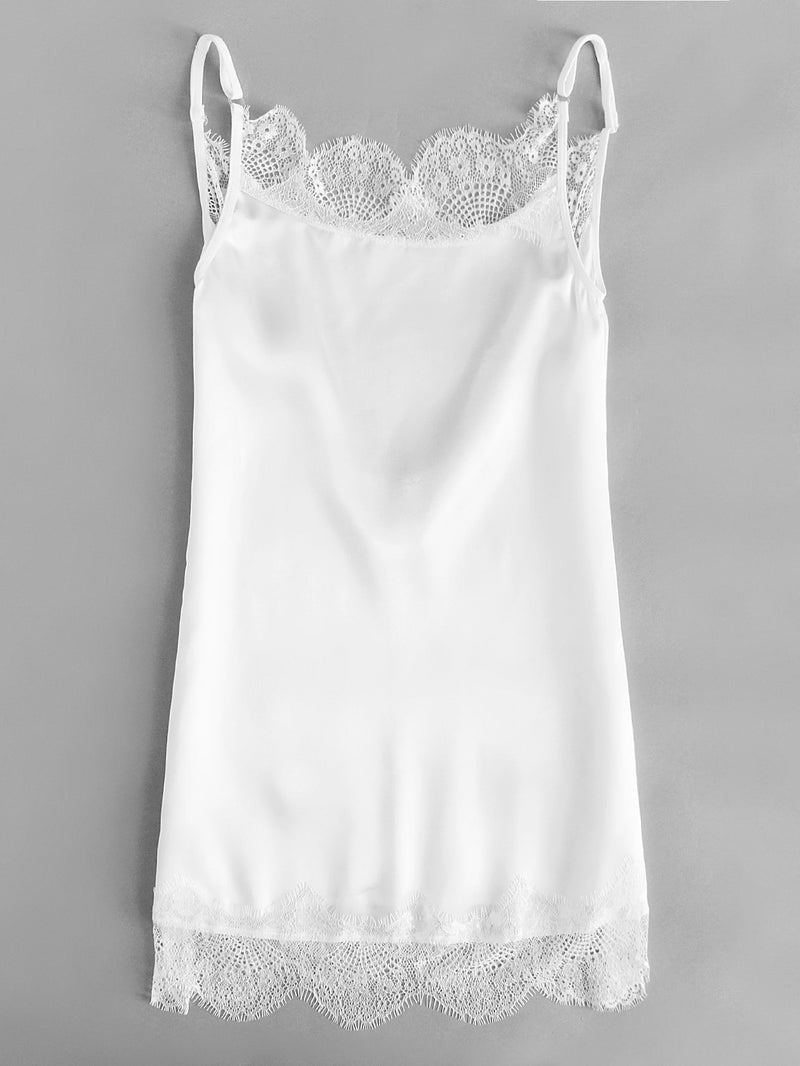 Contrast Lace Satin Slips