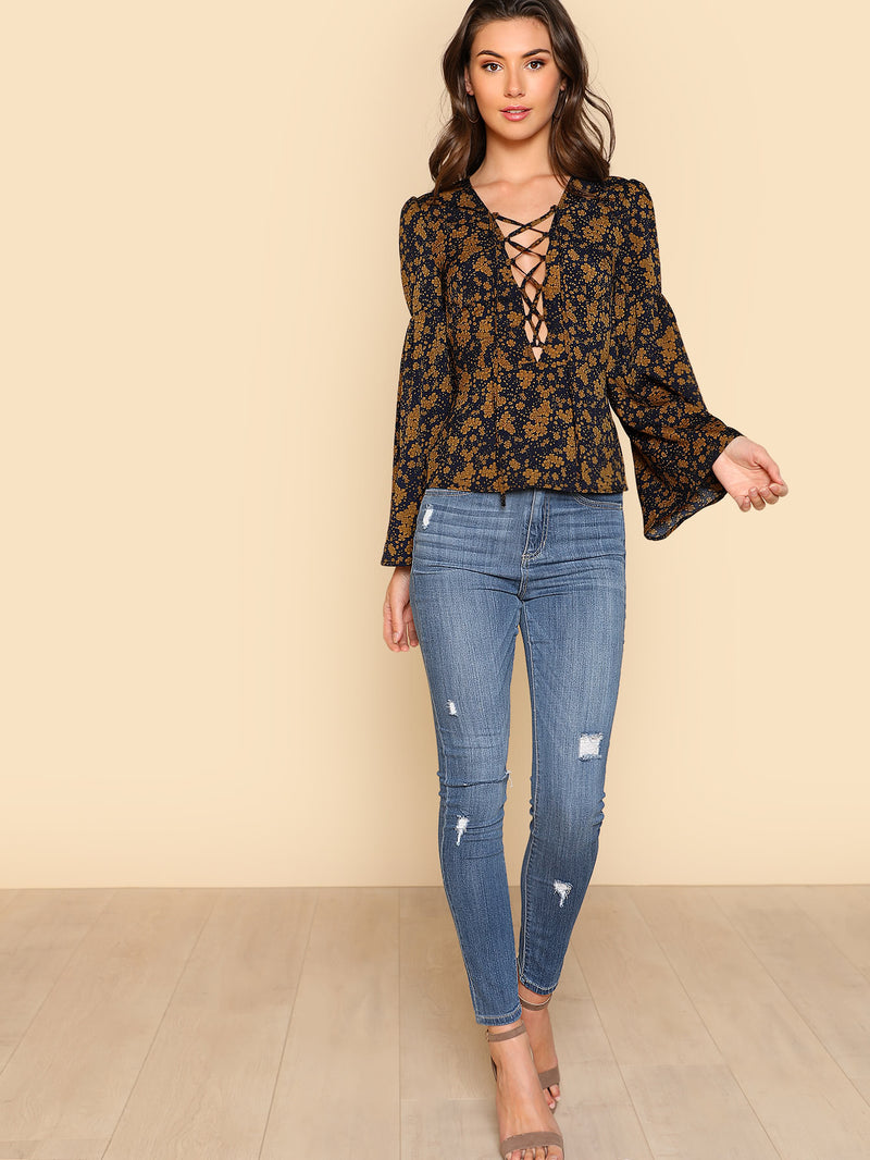 Lantern Sleeve Lace Up Plunge Neck Floral Top