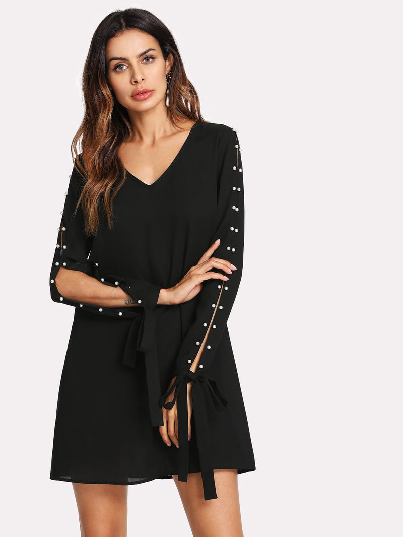 Pearl Detail Split Sleeve Knot Cuff Dress