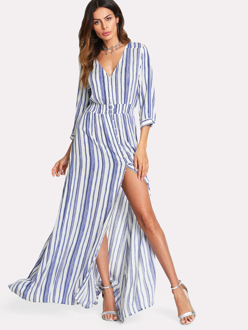 Buttoned Up Smocked Waist Striped Dress