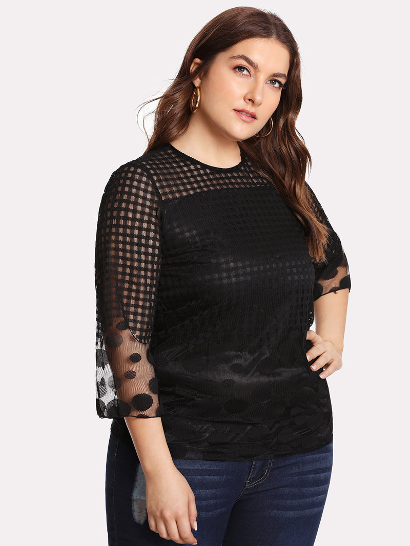 Grid Mesh Panel Blouse