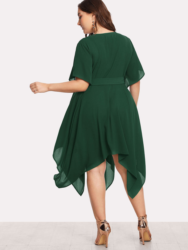 Self Belted Hanky Hem Dress