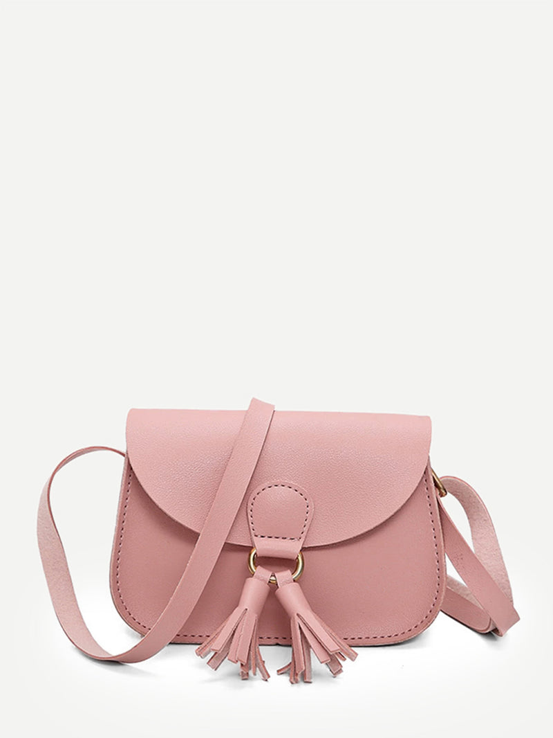 Tassel Embellished Saddle Bag