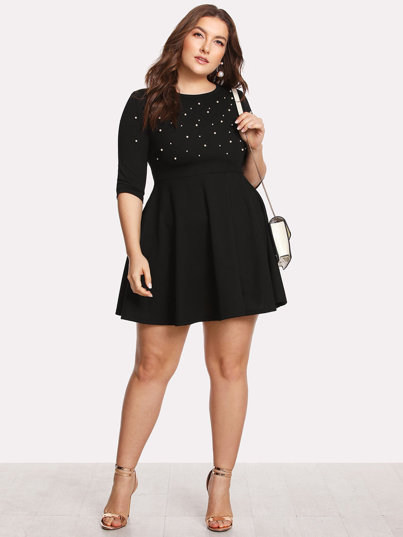 Pearl Beading Fit & Flare Dress