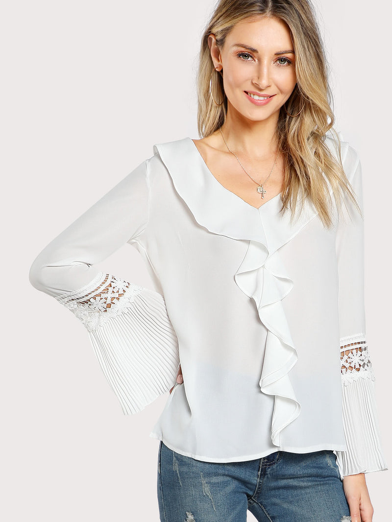 Frill Trim Eyelet Lace Pleated Sleeve Top
