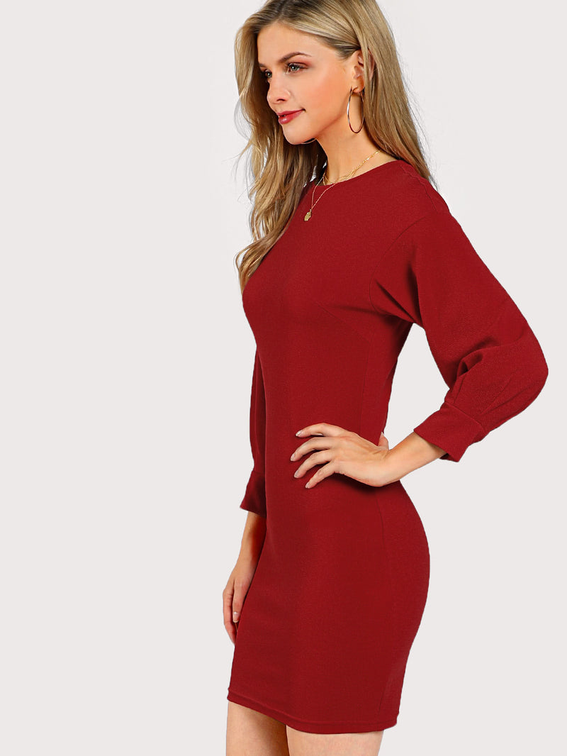 3/4 Sleeve Solid Dress
