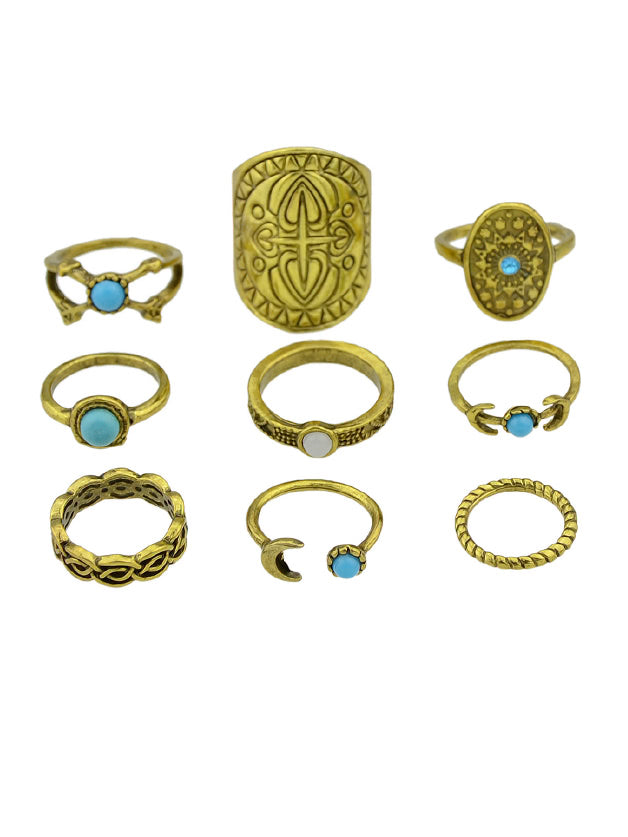 At-Gold Vintage Totem Turquoise Ring 9-Pieces Set