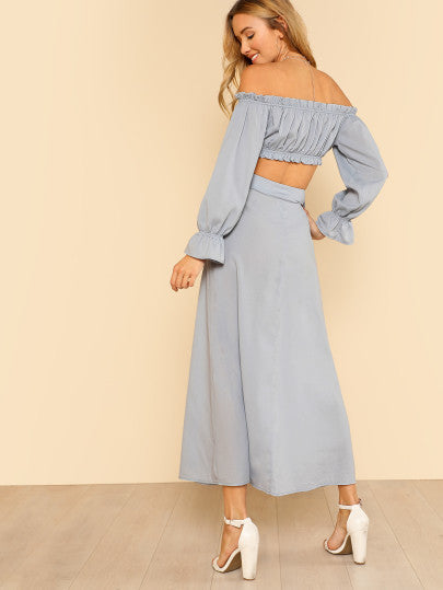Tie Detail Crop Bardot Top & Buttoned Skirt Set