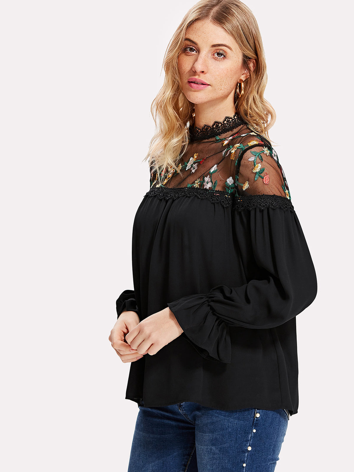 Flower Embroidery Mesh Yoke Flounce Sleeve Top