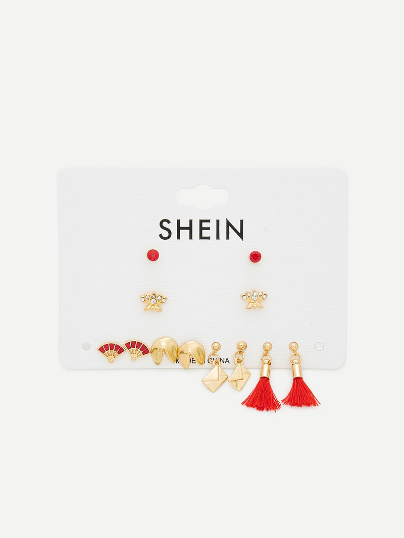 Multi Shaped Stud Earrings 6 Pairs