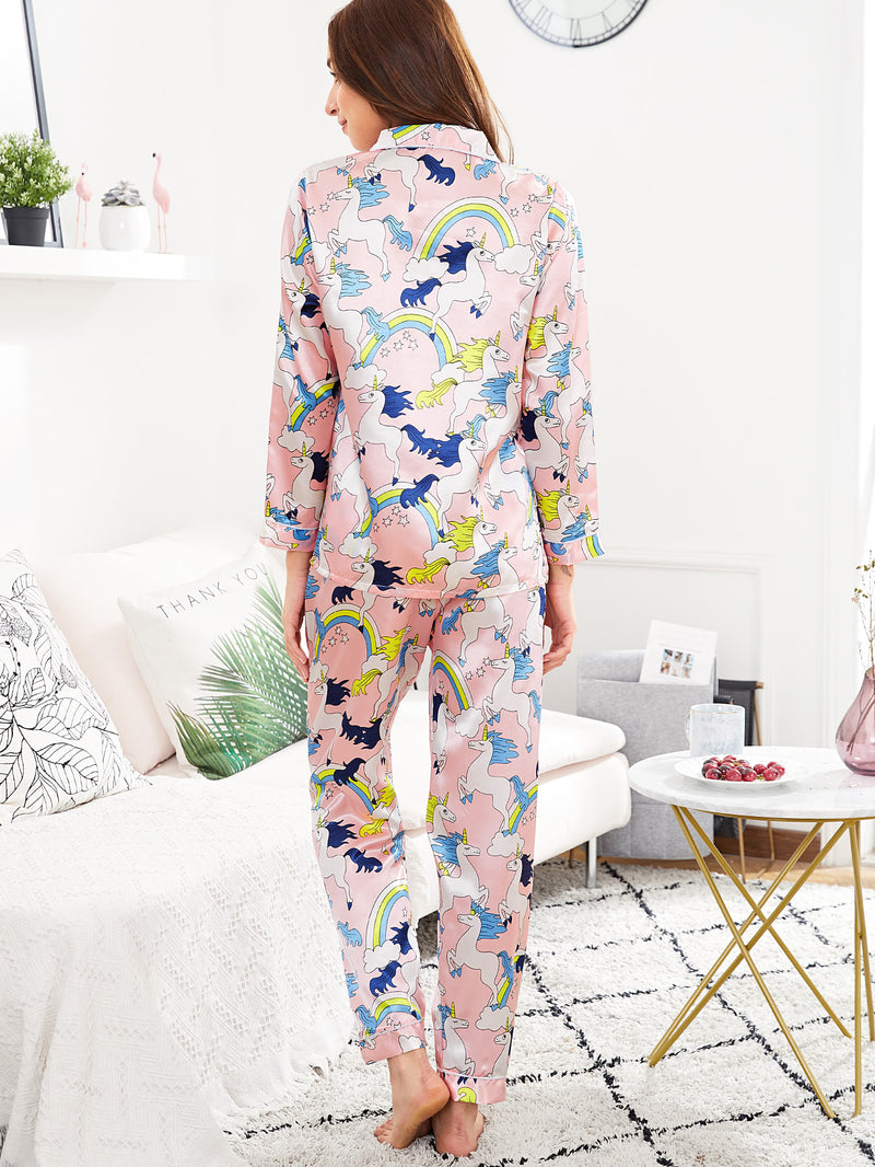 Allover Unicorn Print Shirt & Pants PJ Set