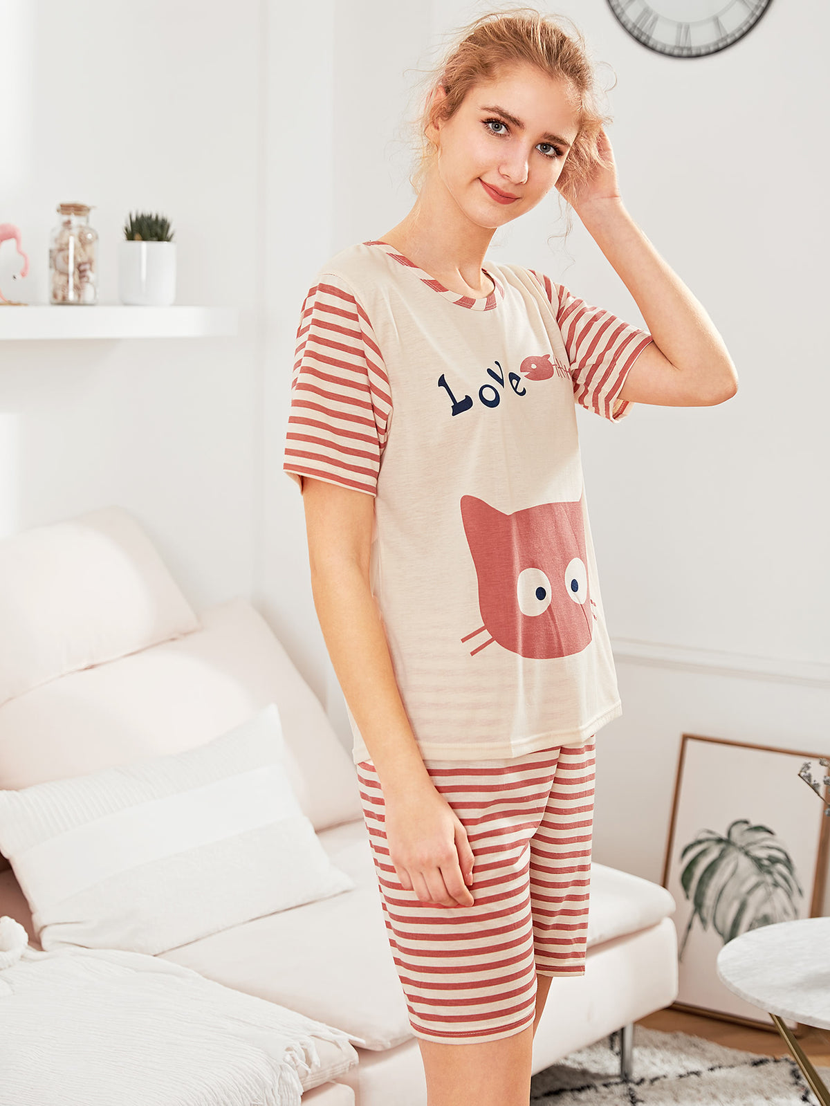 Contrast Striped Cat Print Tee & Shorts PJ Set