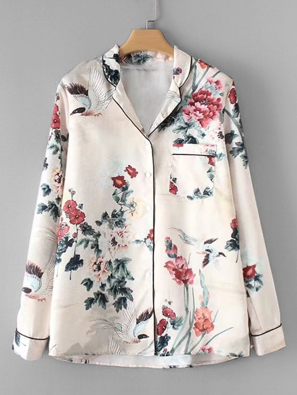 Contrast Piping Floral Pajama Blouse