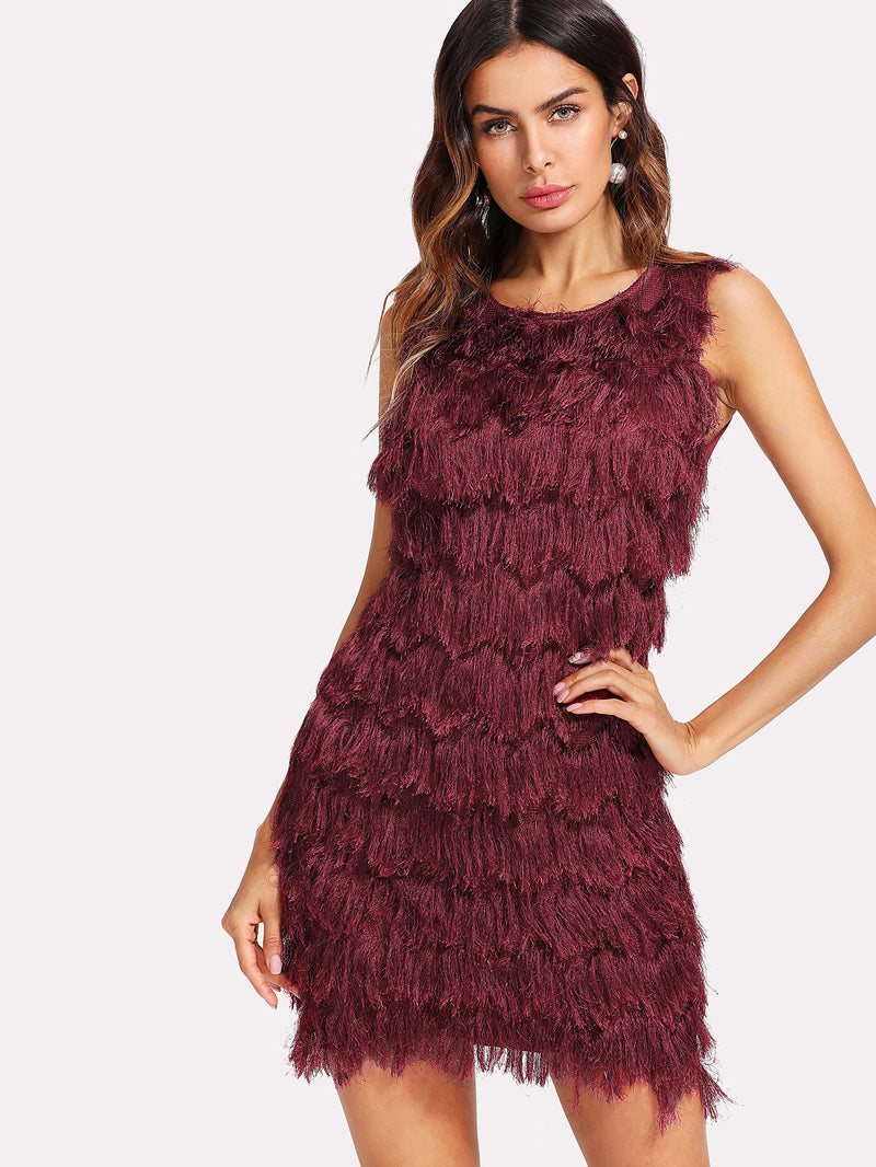 Faux Fur Panel Dress