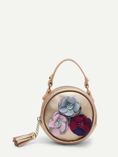 Flower Decorated PU Round Bag With Tassel