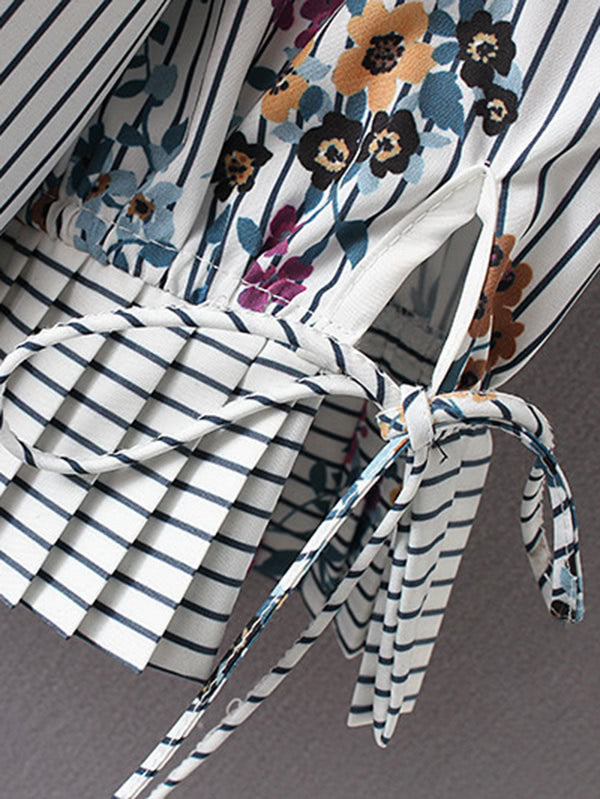 Flower Print Striped Blouse