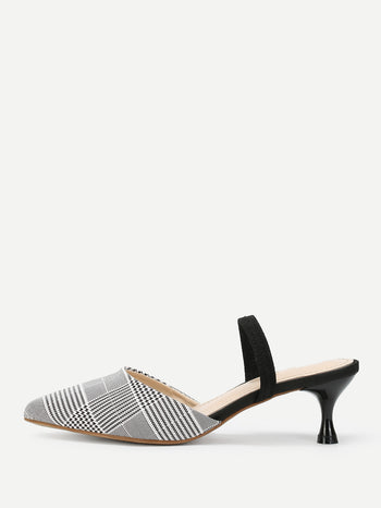 Houndstooth Print Pointed Toe Stiletto Heels